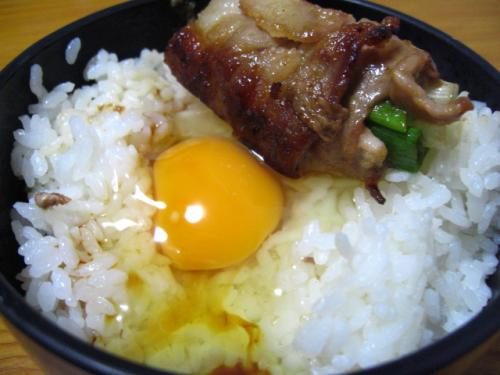 卵かけご飯に青ねぎと豚肉の巻き焼きを乗せてみた