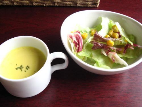 ビストロセルフィーユ Aセット カボチャの冷製スープとサラダ