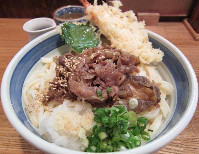 UDON中乃家 海老入り肉ぶっかけ(大盛)