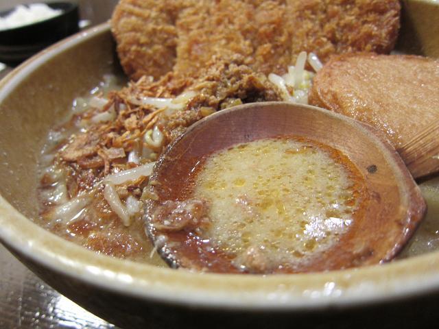 麺屋・國丸。南国店 九州麦味噌 味噌カツらーめん スープアップ