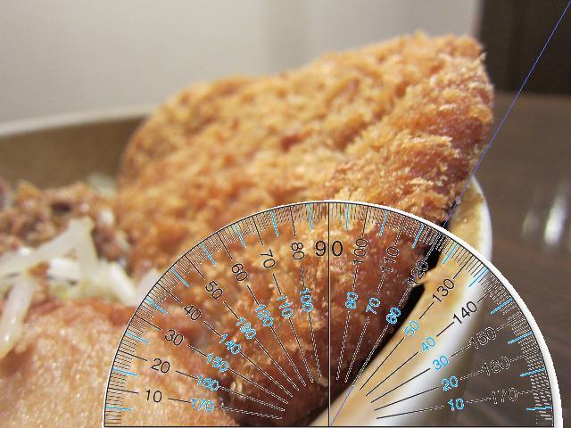 麺屋・國丸。南国店 立ったカツを分度器で測ったんや!