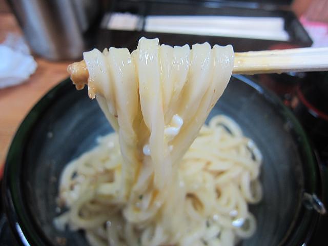 うどんのみなみ 釜玉生醤油 麺アップ