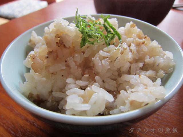 草や タチウオの魚飯