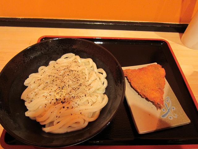 セルフうどん麦笑 釜バター(2玉) & アジフライ