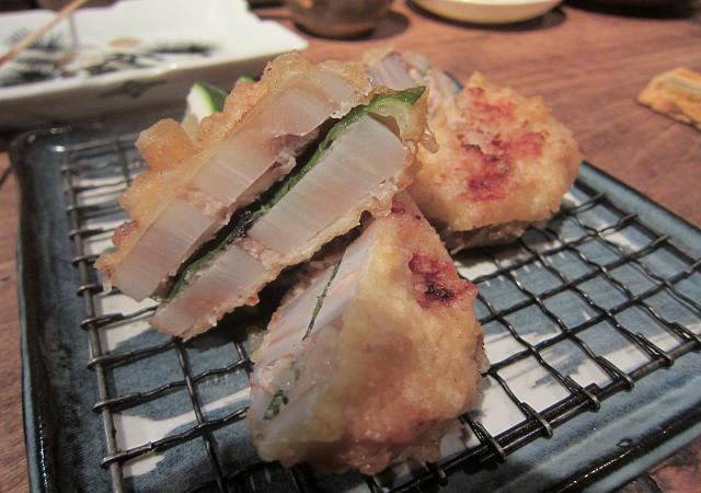 焼鳥まろばし 蓮根肉詰めハサミ揚げ