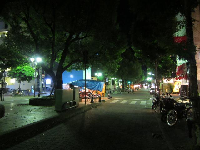 祝日の高知市グリーンロード・夜の屋台街