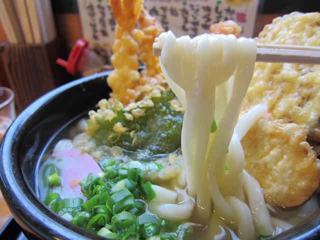 手打ちうどんまるしん 天ぷらうどん(大盛) 麺アップ