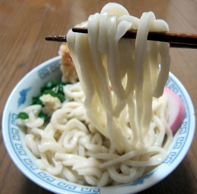 幻の山雀うどん かき揚げうどん 麺アップ