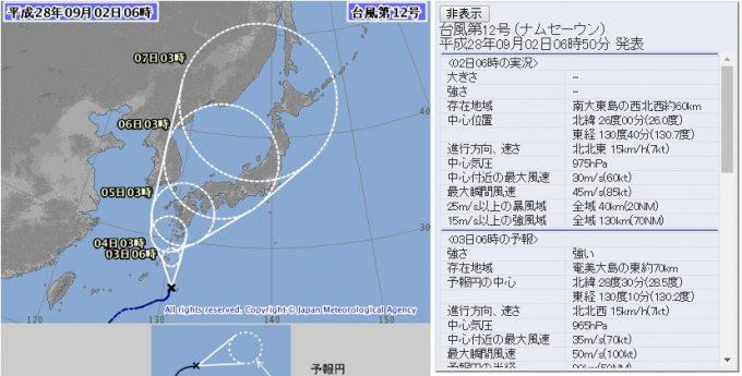 台風12号の進路 2016.09.02