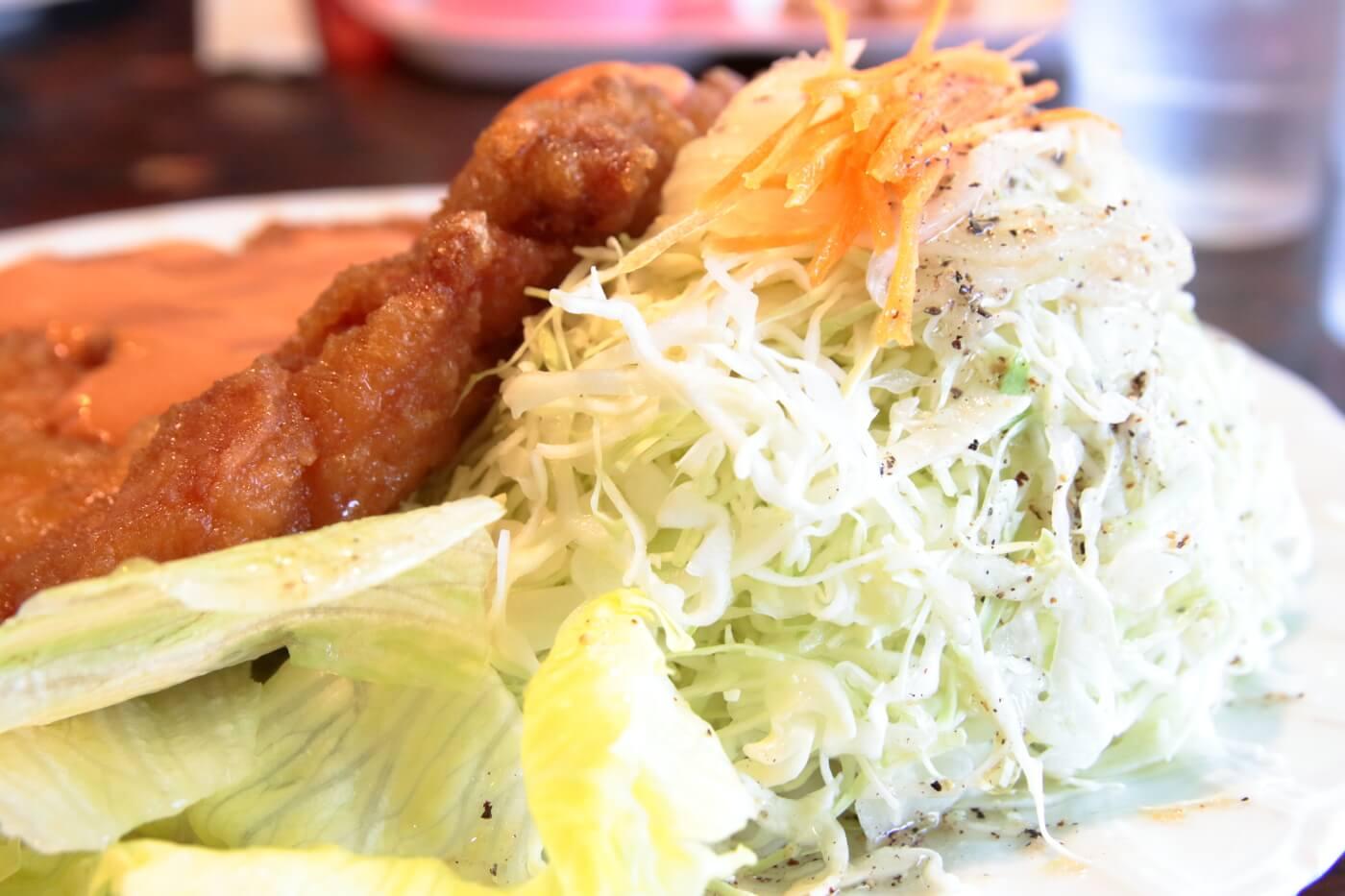高知市の鶏料理屋さん 鳥心 名物のチキンナンバン サラダの量も多い