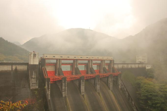 永瀬ダム、香北町側の外観・高知・香美市物部町