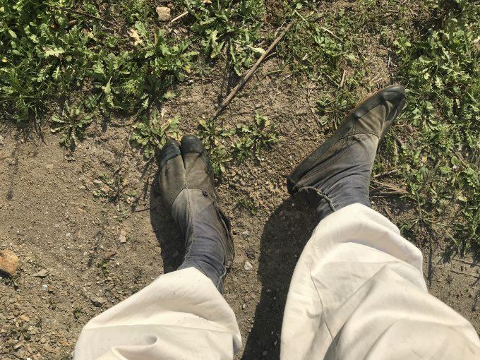 地下足袋を履いた農家の足