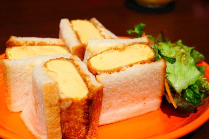 モーテ桂浜・テラスコーヒー01「タマゴカツのサンドウィッチ」