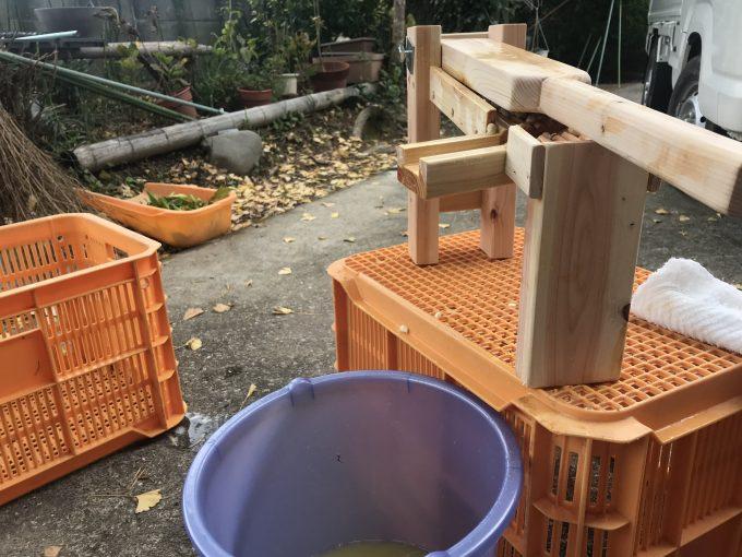 木製のゆず絞り器
