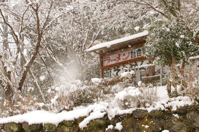 冬の自由軒 越知町本店 周辺の雪景色