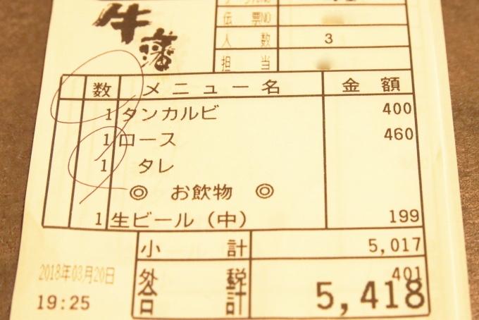 焼肉牛藩南国店の会計伝票