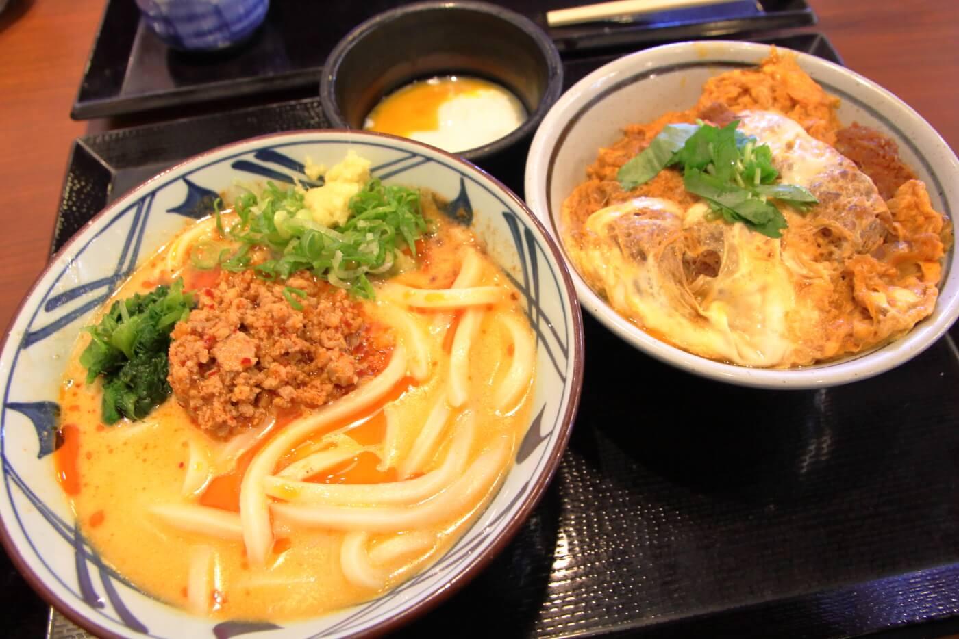 丸亀製麺の期間限定メニュー うま辛坦々うどんとカツ丼