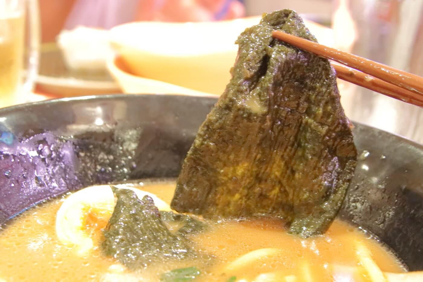 はま寿司 横浜家系ラーメン 豚骨醤油 具材の海苔