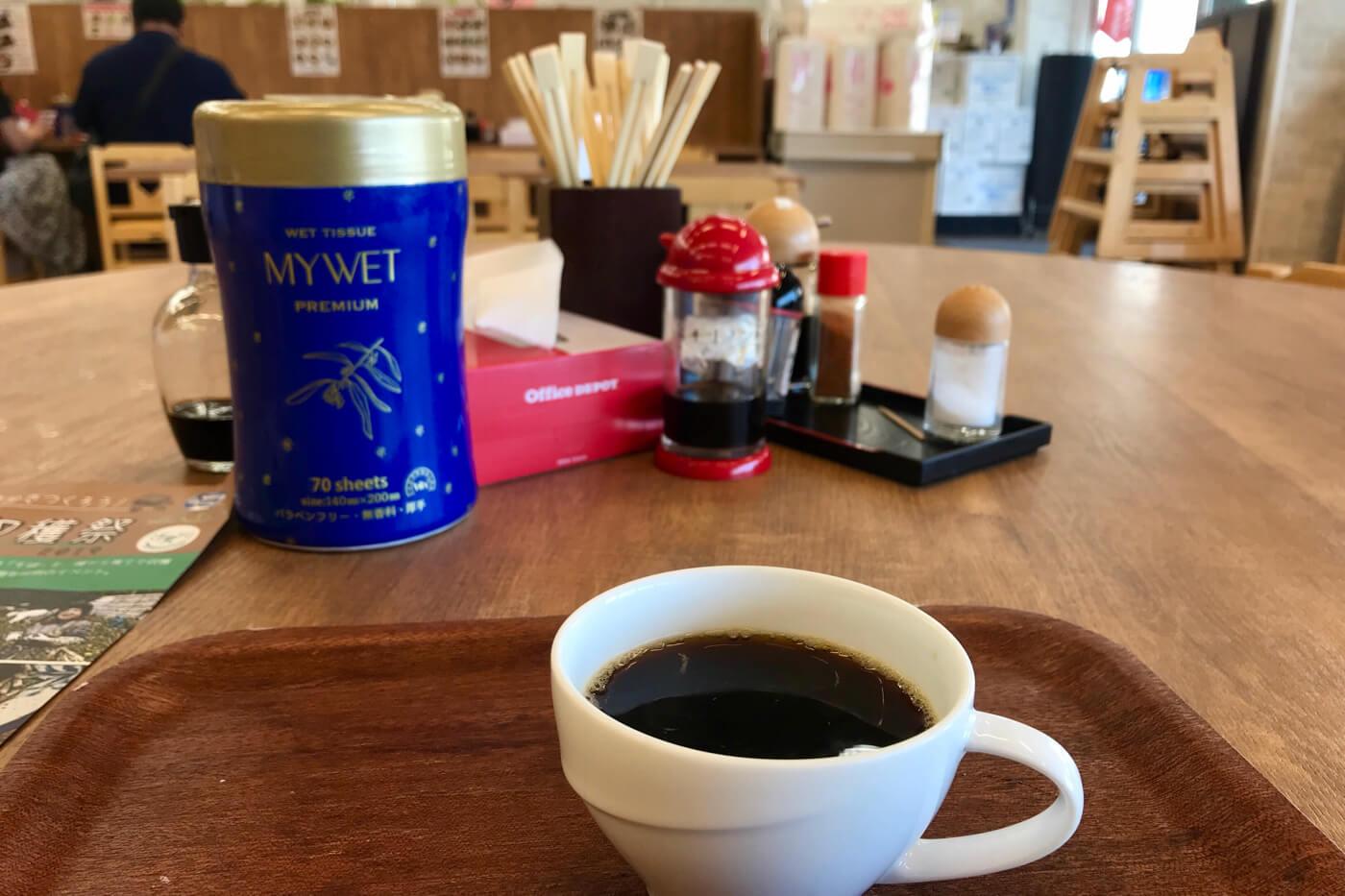 地のもん市場 ハレタ 食堂のホットコーヒー(120円)
