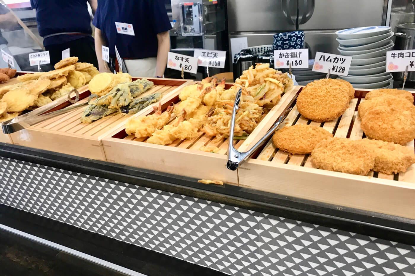 麺処やすきや製麺所 セルフうどん てとて トッピングの天ぷら類