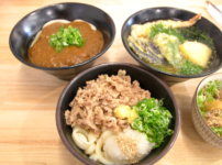 白バラ食堂 肉入り醤油 カレーうどん 天ぷらうどん 牛丼ミニ