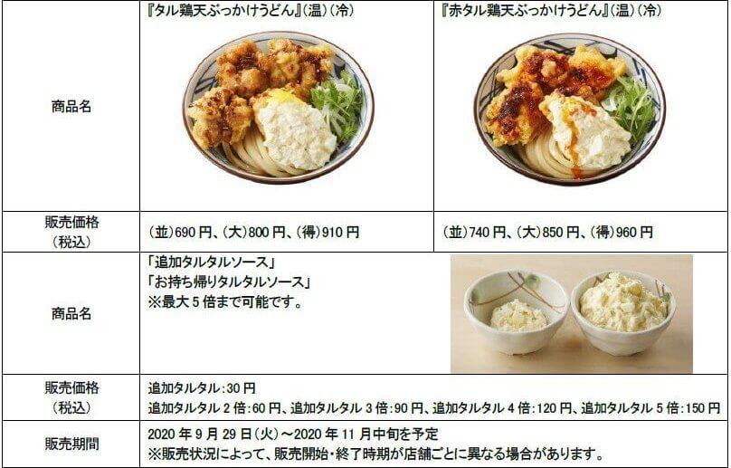 丸亀製麺の期間限定メニュータル鶏天ぶっかけうどんと赤タル鶏天ぶっかけうどんの価格と販売期間を記した公式プレスリリース