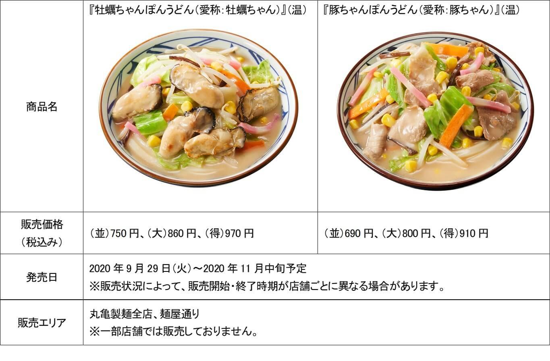 丸亀製麺 牡蠣ちゃんぽんと豚ちゃんぽんうどんの価格と販売期間を記した公式プレスリリース
